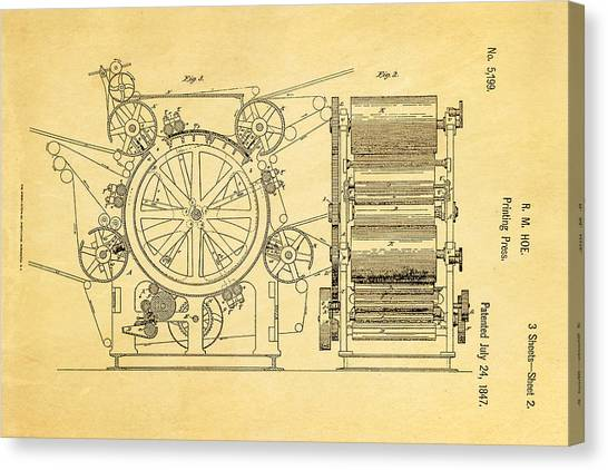 Printers Canvas Print - Hoe Printing Press Patent Art 2 1847  by Ian Monk