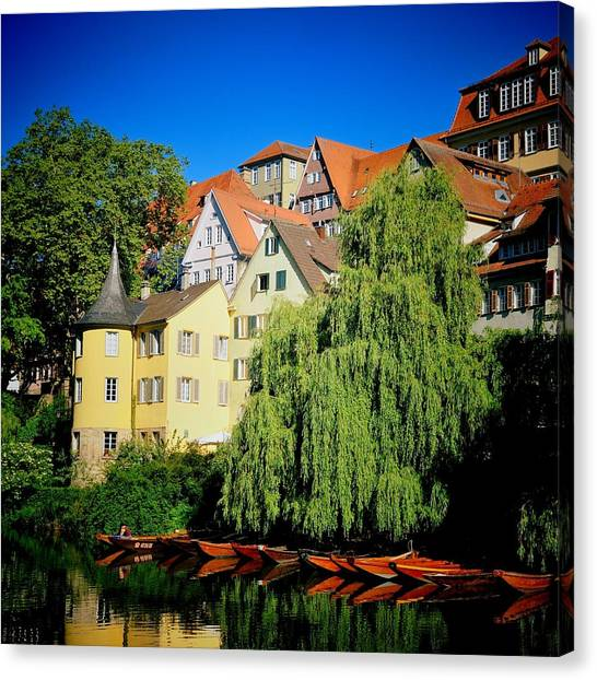 Germany Canvas Print - Hoelderlin Tower In Lovely Tuebingen Germany by Matthias Hauser