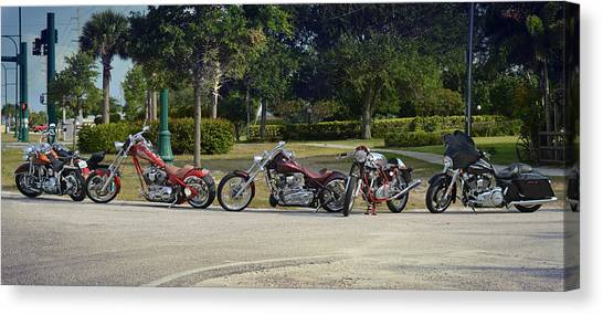 Choppers Canvas Print - Hogs And Choppers by Laura Fasulo