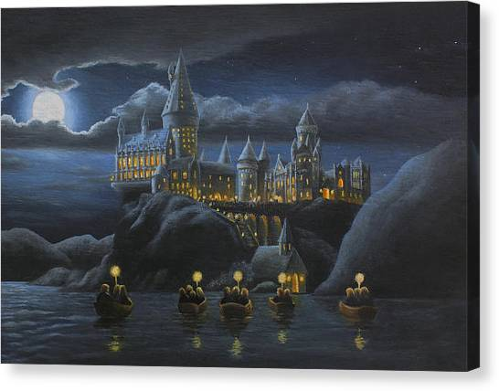 Magicians Canvas Print - Hogwarts At Night by Karen Coombes