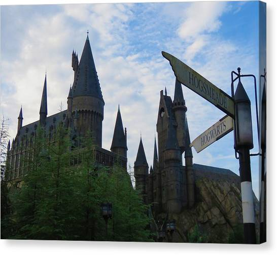 Hogwarts Castle With Signs Canvas Print