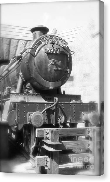 Hogwarts Express Train Closeup Black And White Canvas Print
