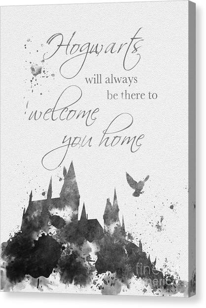 Owl Canvas Print - Hogwarts Quote Black And White by Rebecca Jenkins