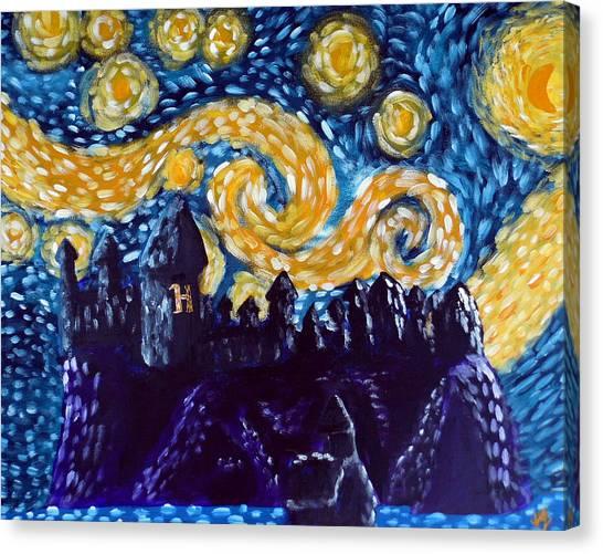 Outsider Canvas Print - Hogwarts Starry Night by Jera Sky
