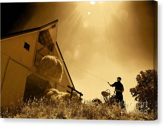 Hoisting Hay Canvas Print