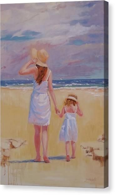 Children On Beach Canvas Print - Hold On by Laura Lee Zanghetti