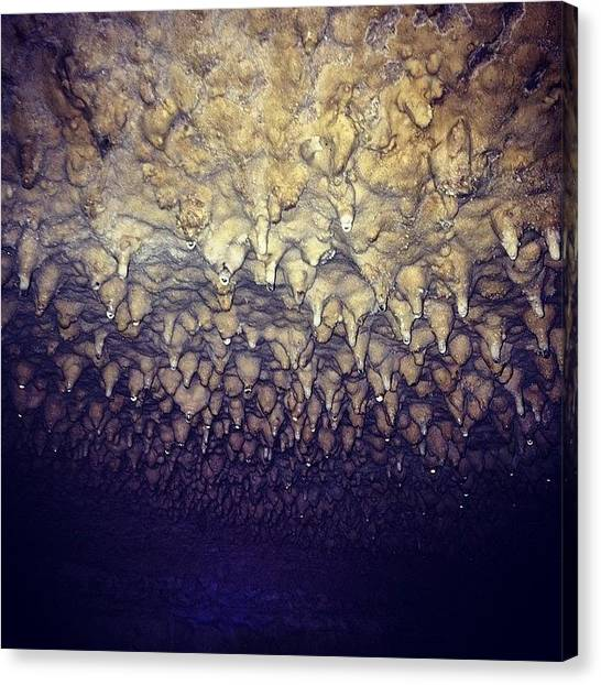 Stalagmites Canvas Print - Hold On Stalactites #cave #stalactites by Nate Greenberg
