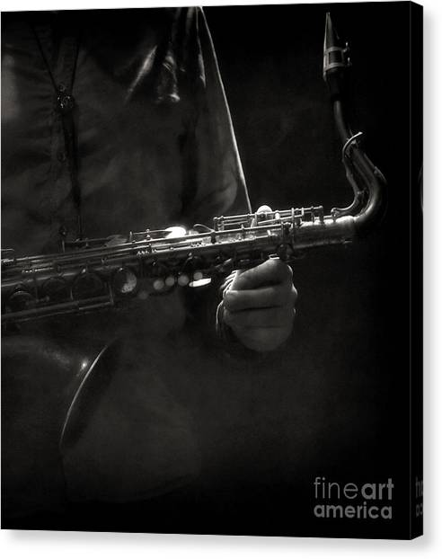 Hold On To Your Sax Canvas Print by Michel Verhoef