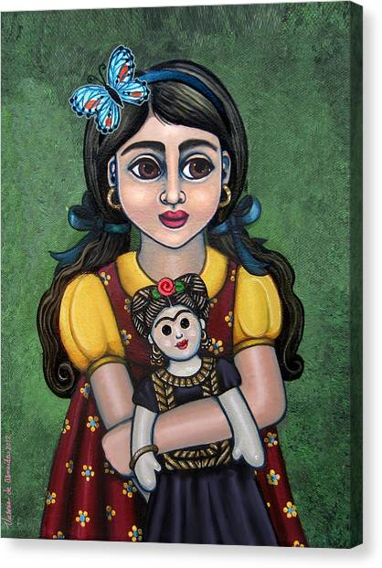 Holding Frida With Butterfly Canvas Print