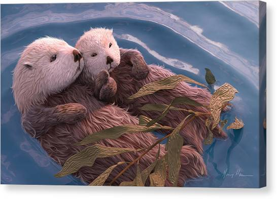 Otters Canvas Print - Holding Hands by Gary Hanna