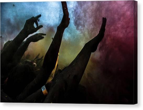 Hand Canvas Print - Holi  Festival Of Colours by Vyacheslav Klimentyev