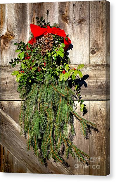 Wreath Canvas Print - Holiday Barn Door by Olivier Le Queinec
