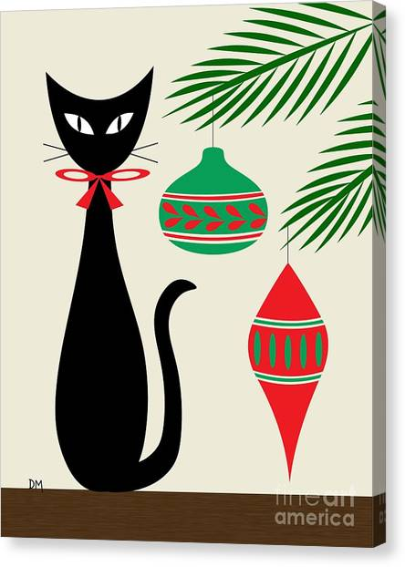 Holiday Cat On Cream Canvas Print