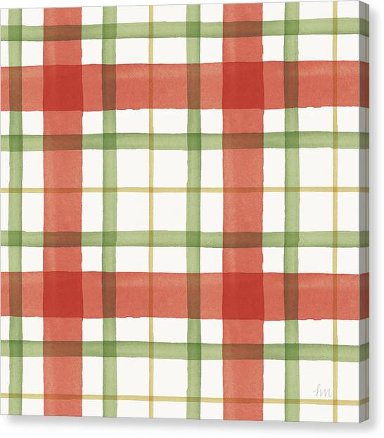 Plaid Canvas Print - Holiday Garden Pattern X by Laura Marshall