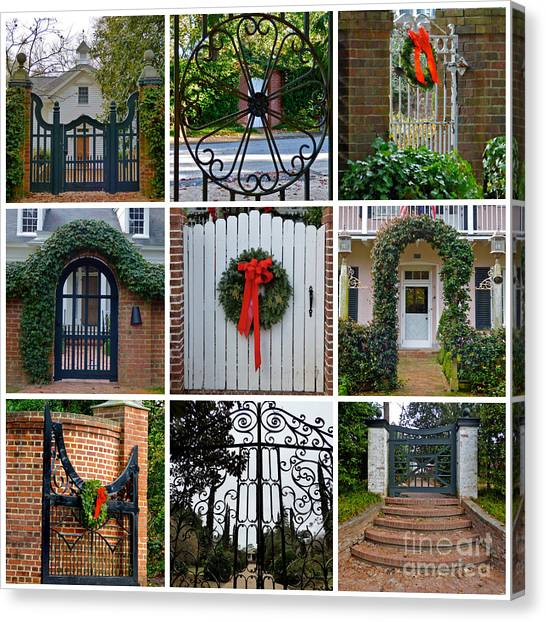Holiday Gates Of Aiken's Winter Colony Canvas Print