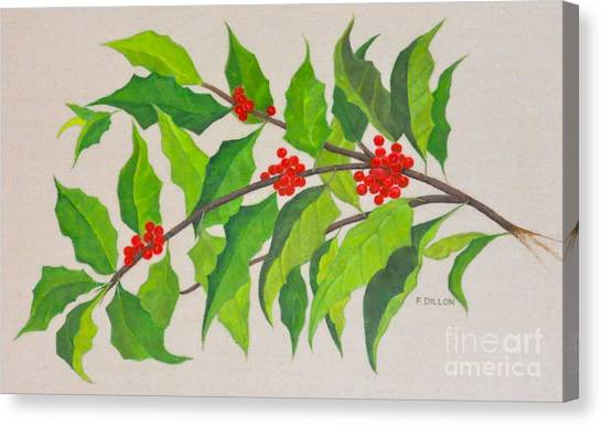 Holiday Holly Canvas Print by Frances  Dillon