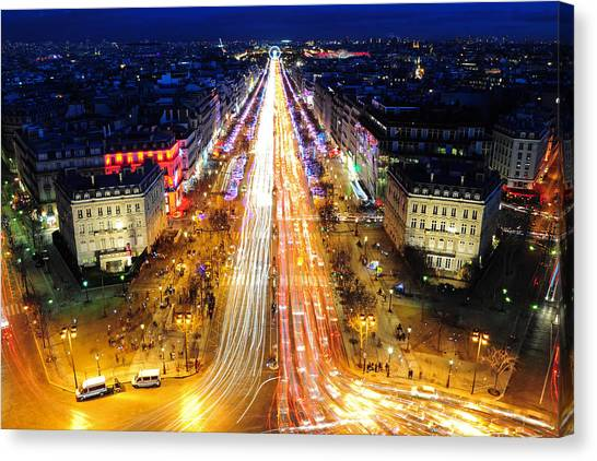 Holiday Lights On The Champs-elysees Canvas Print