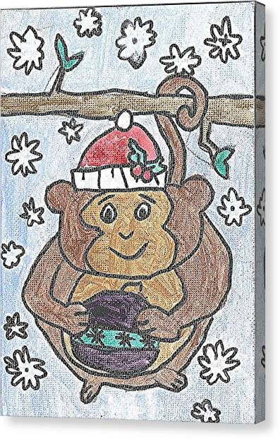 Holiday Monkey Canvas Print by Fred Hanna