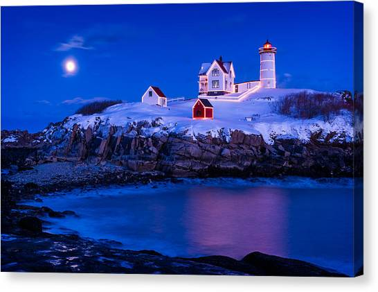 Maine Winter Canvas Print - Holiday Moon by Michael Blanchette