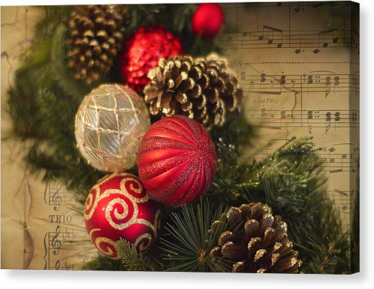 Wreath Canvas Print - Holiday Music by Rebecca Cozart