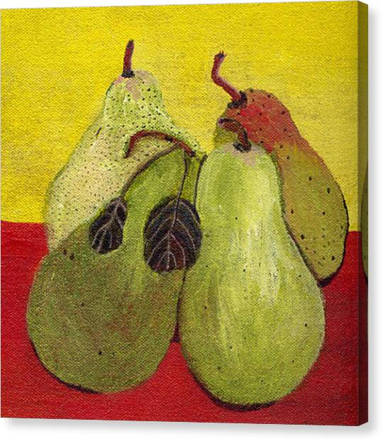 Still Life Canvas Print - Holiday Pears by Caroline Blum