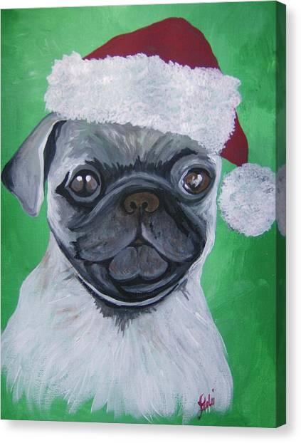Holiday Pug Canvas Print