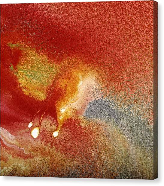 Holiday - Red Silver Gold Abstract Art By Kredart Canvas Print