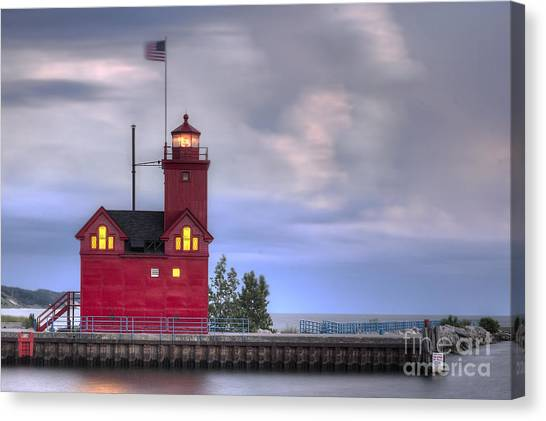 Big Red Canvas Print - Holland Big Red Lighthouse by Twenty Two North Photography