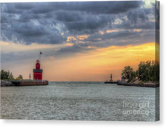 Big Red Canvas Print - Holland Lighthouse At Sunset by Twenty Two North Photography