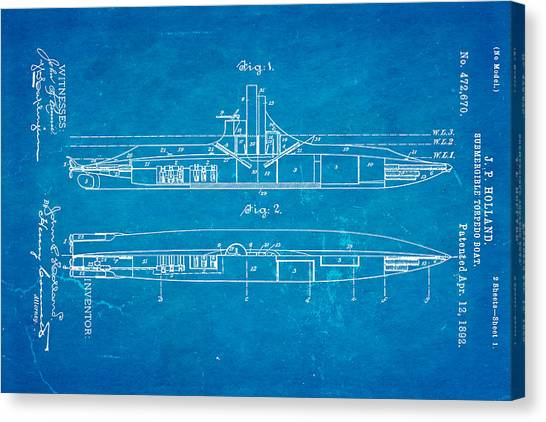 Nra Canvas Print - Holland Submarine Patent Art 1892 Blueprint by Ian Monk