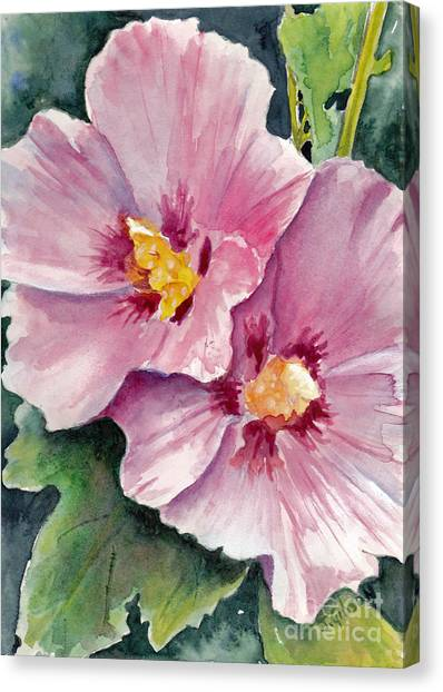 Hollyhock Sisters Canvas Print by Jan Gibson
