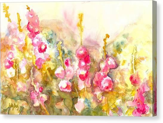 Foxglove Flowers Canvas Print - Hollyhocks by Kelly Perez