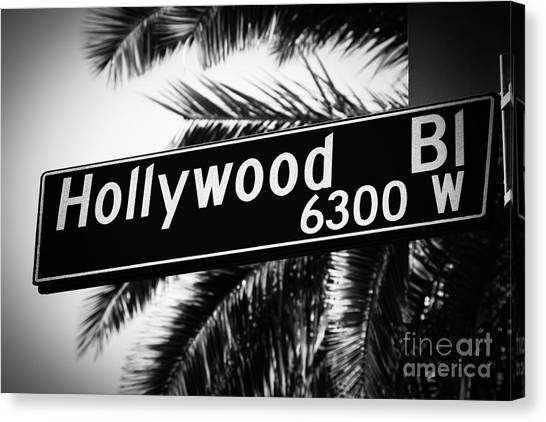 Movie Canvas Print - Hollywood Boulevard Street Sign In Black And White by Paul Velgos