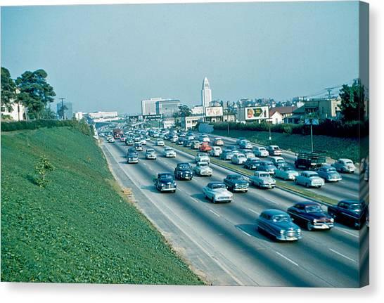 Hollywood Freeway 2 1954 Canvas Print by Cumberland Warden