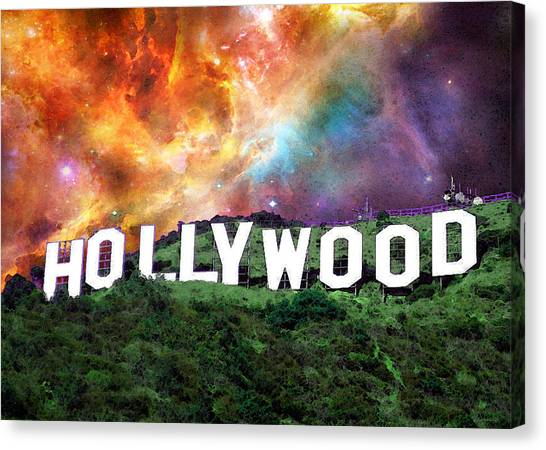 Hollywood Sign Canvas Print - Hollywood - Home Of The Stars By Sharon Cummings by Sharon Cummings