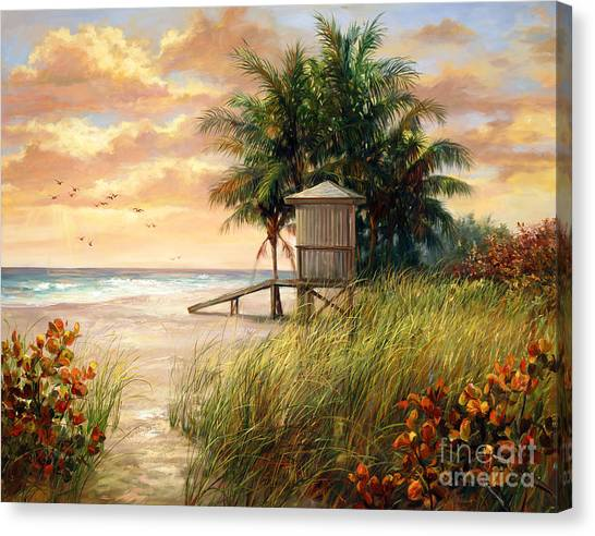 Beach Sunrises Canvas Print - Hollywood Life Guard Hut by Laurie Hein