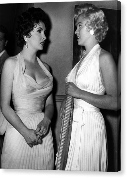 Monroe Canvas Print - Gina Lollobrigida And Marilyn Monroe by Retro Images Archive