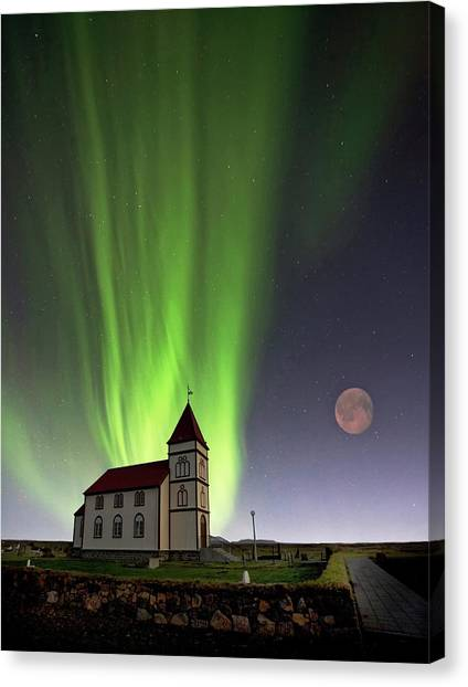 Church Canvas Print - Holy Lights by ?orsteinn H. Ingibergsson