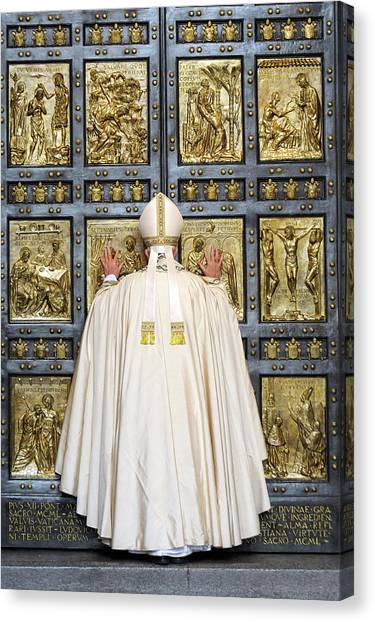 Holy Mass And Opening Of The Holy Door Canvas Print by Vatican Pool