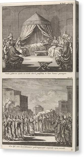 Early Christian Art Canvas Print - Holy Paula On Her Deathbed And The Holy Paula Who by Jan Luyken And Jacobus Van Hardenberg And Barent Visscher