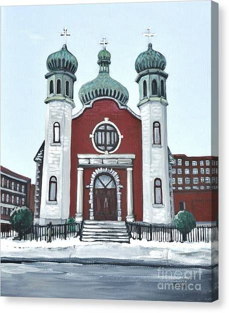Holy Spirit Ukrainian Catholic Church Pointe St. Charles Canvas Print by Reb Frost