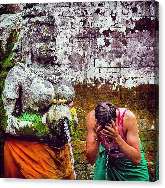 Hinduism Canvas Print - Holy Spring Water #water #fountain by Javier Vazquez Marino