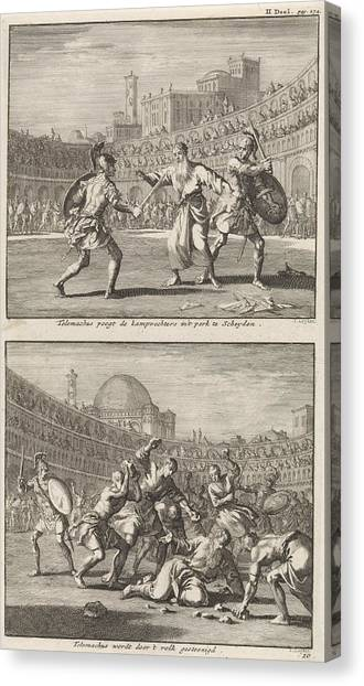 Early Christian Art Canvas Print - Holy Telemachus Of Rome Interrupts A Gladiatorial Combat by Jan Luyken And Jacobus Van Hardenberg And Barent Visscher