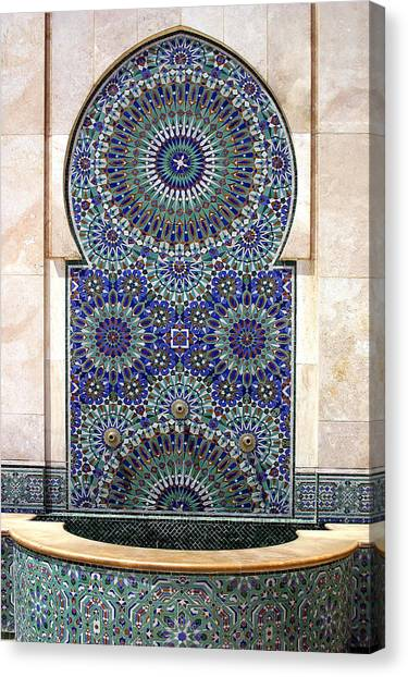 Holy Water Fountain Hassan II Mosque Sour Jdid Casablanca Morocco  Canvas Print by PIXELS  XPOSED Ralph A Ledergerber Photography