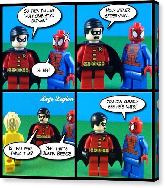 Robins Canvas Print - Holy Wiener Spider-man #legolegion by Lego Legion