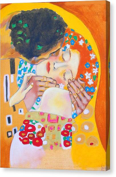 Homage To Master Klimt The Kiss Canvas Print by Susi Franco