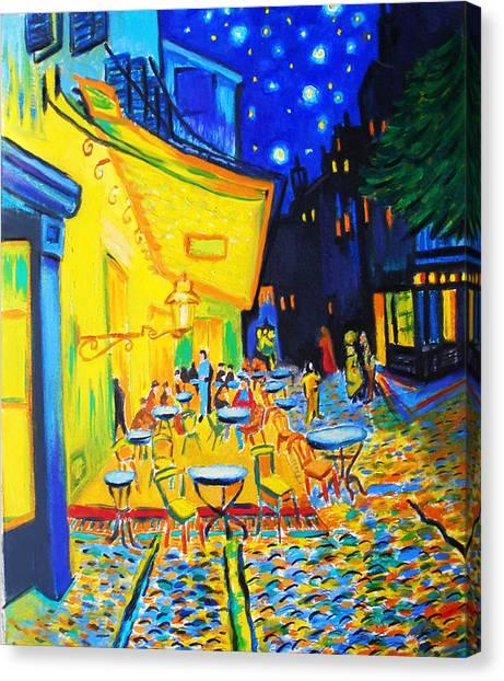 Homage To Master Van Gogh's Terrace At Arles Canvas Print by Susi Franco