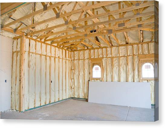 Drywall Canvas Print - Home Construction And Insulation by Joe Belanger