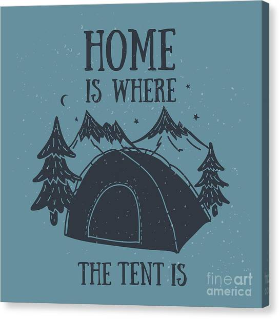 Symbols Canvas Print - Home Is Where The Tent Is Hand-drawn by Wild0wild