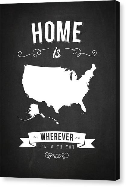 Art In America Canvas Print - Home Is Wherever I'm With You Usa - Dark by Aged Pixel